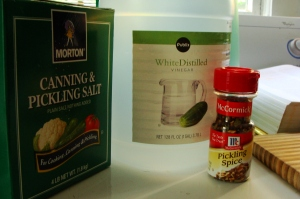 A few of the essential pickling ingredients: canning salt, vinegar and pickling spices.